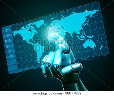 3d rendering of a robothand touching a virtual screen with a worldmap