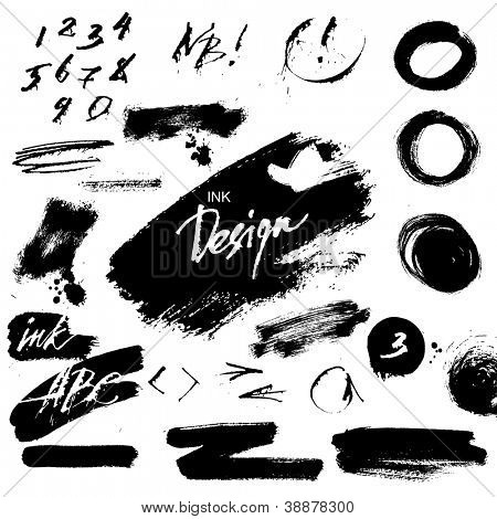 Ink grunge design elements