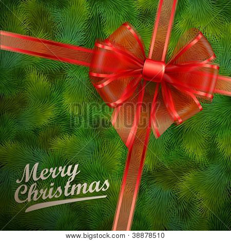 Christmas card - Red transparent bow on fir tree texture. Vector illustration.