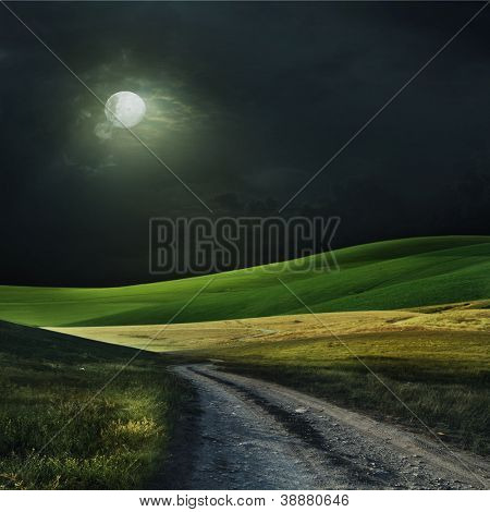 Night with the moon over a field. Also it is expensive