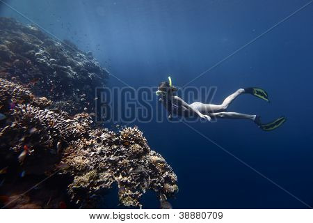 Young woman diving on a breath hold by a coral reef