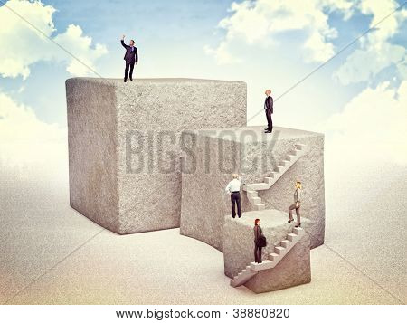 business people move up on 3d huge cube