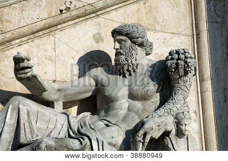Statue With Horn Of Plenty In Piazza Del Campidoglio In Rome