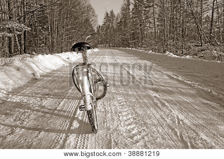 bicycle on winter road