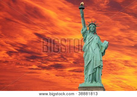 The Statue of Liberty at Sunset, New York City