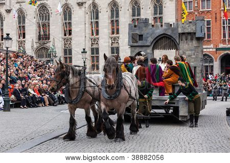 BrUGES, BELGIUM - MAY 17: Annual Procession of the Holy Blood on Ascension Day. Locals perform  dramatizations of Biblical events - the Last Supper. May 17, 2012 in Bruges (Brugge), Belgium