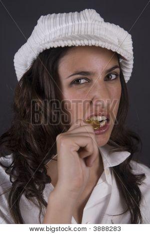 Beautiful Woman Bitting An Euro