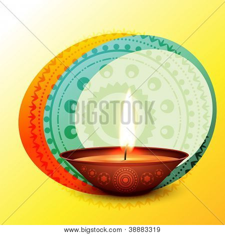 vector stylish diwali diya design illustration
