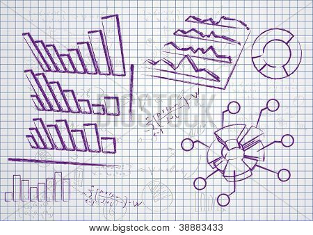 Set of the business diagrams drawn by a pan on a paper.