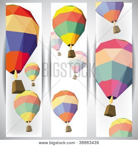 hot air balloon on the web banners eps 10