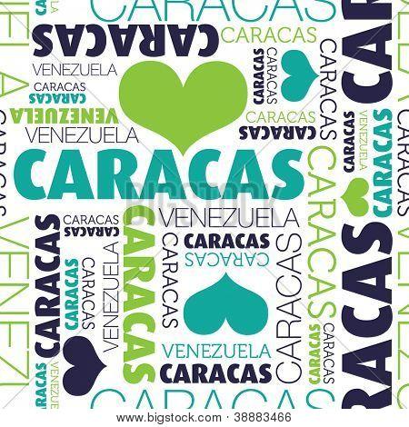 I love Caracas Venezuela seamless typography background pattern in vector