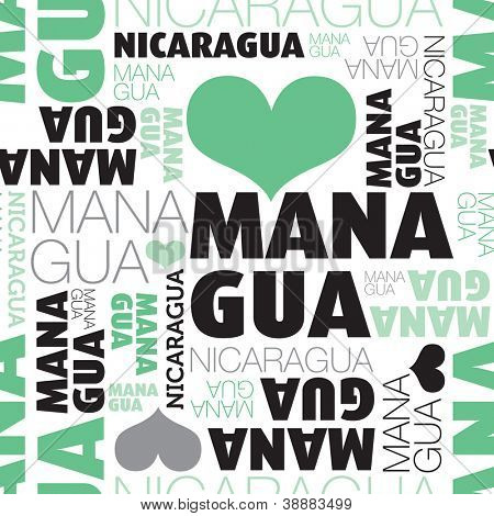 I love Managua Nicaragua seamless typography background pattern in vector