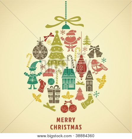 Christmas ornament formed from holidays icons. Vector Illustration.