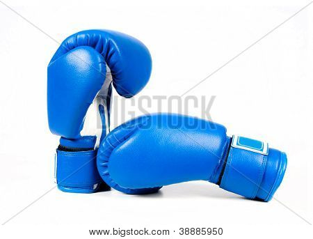 Blue boxing gloves isolated on white background