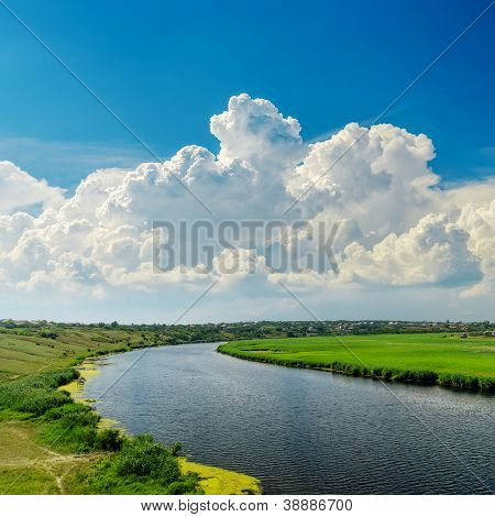 clouds over river