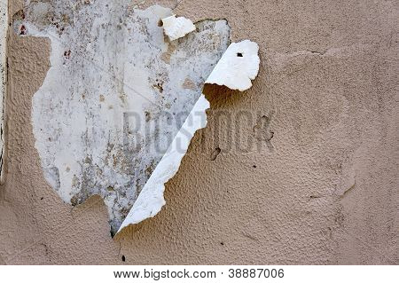Old Wall With Peeling Paint Under Sunlight