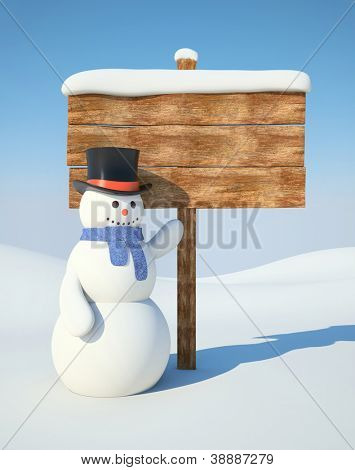 Snowman with billboard