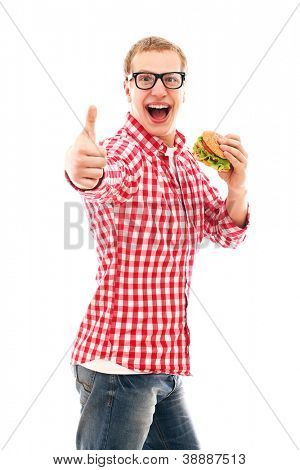 Funny man showing thumbs up and eating hamburger isolated on a white