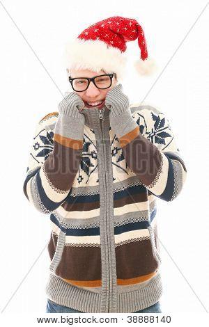 Homem engraçado óculos no chapéu de Natal isolado em um wite