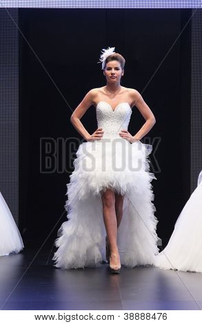 ZAGREB, CROATIA - OCTOBER 27: Fashion model wears wedding dress made by Royal Bride on 'Wedding days' show, October 27, 2012 in Zagreb, Croatia.