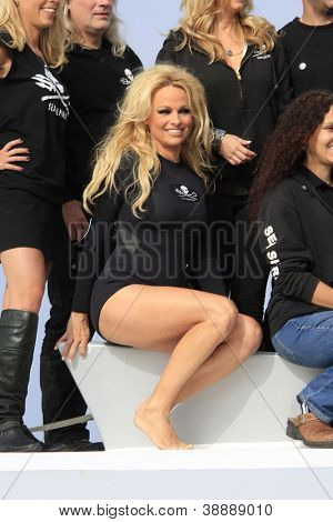 MARINA DEL REY, CA - NOV 2: Pam Anderson at the Sea Shepard's Operation Zero Tolerance Antarctic Whale Defense Campaign Press Conference Launch on November 2, 2012 in Marina del Rey, California