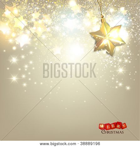 Elegant Christmas background with golden stars and place for text. Vector Illustration.