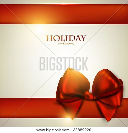 Elegant Christmas background with red bow and space for text. Vector illustration