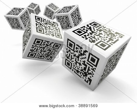 Lottery. Qr code cubes as dice. 3d