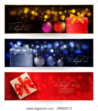 Set of winter christmas banners with gift boxes and snowflakes.  Vector illustration