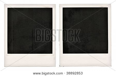 Two old dusty photo frames isolated on white