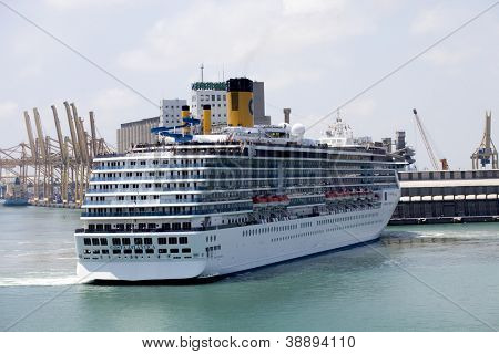 BARCELONA, SPAIN - JUNE 17:Costa Atlantica cruise ship navigating in Barcelona port,Spain June 17,2012.Costa Atlantica is cruise ship owned and operated by Italian cruise line Costa Crociere from 2000