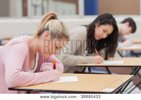 Students writing in the exam hall in college