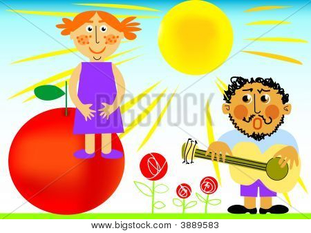 Boy, Girl And Red Apple