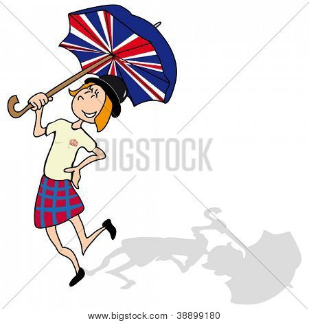 so british  English girl is dancing with a british umbrella .