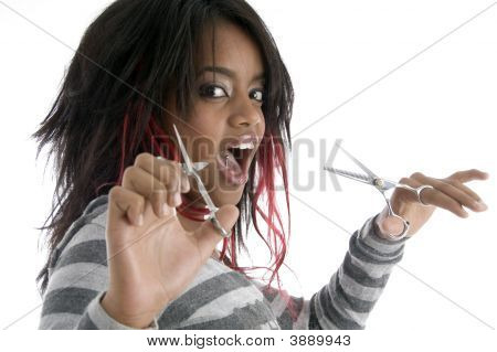 African Female With Scissors