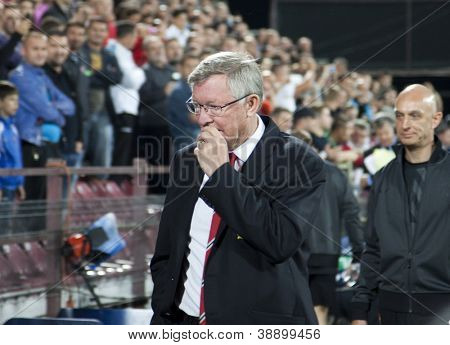CLUJ-NAPOCA, ROMANIA - OCTOBER 2: Sir Alex Ferguson in UEFA Champions League match between CFR 1907 Cluj and Manchester United,  on 2 Oct., 2012 in Cluj-Napoca, Romania