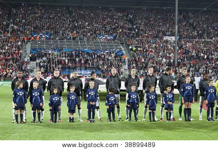 CLUJ-NAPOCA, ROMANIA - OCTOBER 2: Team photo of Manchester United before UEFA Champions League match, CFR 1907 Cluj vs Manchester United,  on 2 Oct., 2012 in Cluj-Napoca, Romania
