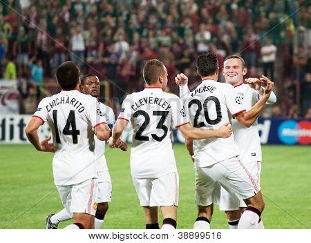 CLUJ-NAPOCA, ROMANIA - OCTOBER 2: Manchester team after scoring a goal, UEFA Champions League, CFR 1907 Cluj vs Manchester United, Dr. C. Radulescu Stadium on 2 Oct., 2012 in Cluj-Napoca, Romania