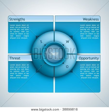 Presentation template with four options and a spherical element in the middle