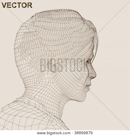 Vector eps concept or conceptual 3D wireframe human male or man head isolated on background as metaphor for technology,cyborg,digital,virtual,avatar,science,fiction, future,mesh,vintage abstract