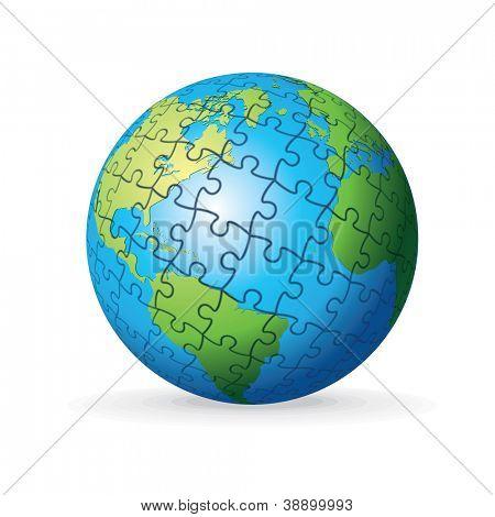 Puzzle Earth Globe. Vector Illustration