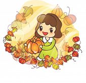 Beautiful Autumn Scene : happy smiling a lovely cute young girl with a appetizing pumpkin in romanti