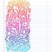 Back to School Sketchy Notebook Doodles Page Edge Border Design Shooting Stars and Swirls- Hand-Draw