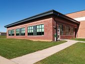 pic of school building  - exterior of a red brick elementary school in New Jersey - JPG