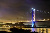 picture of tsing ma bridge  - night scene of Tsing Ma bridge - JPG