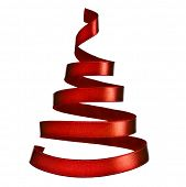 Christmas tree from red ribbon tape isolated on white background