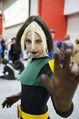 LONDON, UK - OCTOBER 27: Rogue from X-men posing at the London Comicon MCM Expo. Most participants d