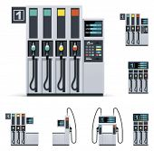 Vector gas station pumps set