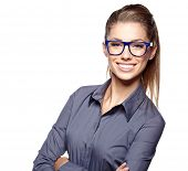picture of casual wear  - Portrait of a beautiful young woman wearing glasses - JPG