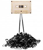 stock photo of magnetic tape  - Audio tape cassette with subtracted out tape - JPG